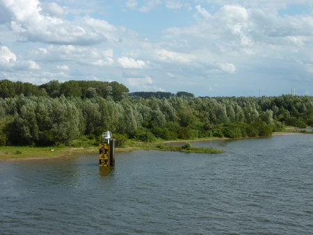 ijssel: The water level of the IJssel river in summer in Zwolle in the Netherlands Stock Photo