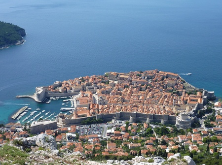 View at the historic city Dubrovnik at the Adriatic sea in Croatia photo