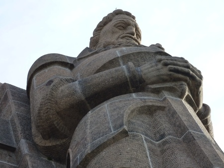 A detail of the monument to the battle of the nations in Leipzig in Germany photo