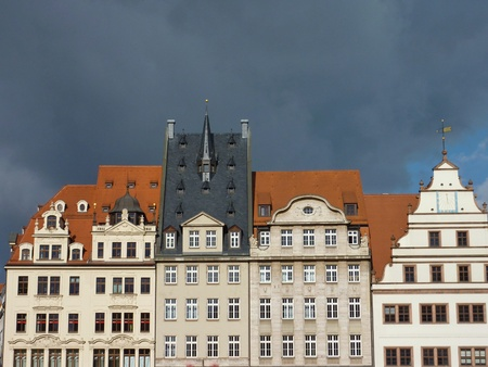 Historic architecture in the center of Leipzig in Germany photo