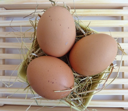 albumin: Three eggs in a bowl with hay Stock Photo