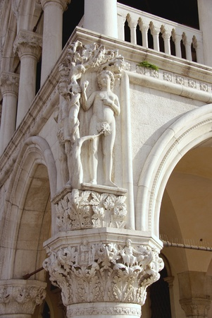 st mark's square: A detail of the Doge palace in Venice in Italy Stock Photo