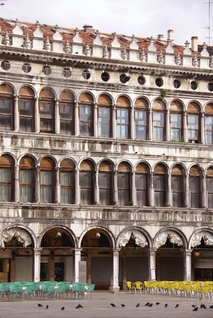 vecchie: The San Marco square with the procuratie vecchio in Venice in Italy