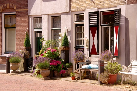 flakkee: Scenic houses and a street garden with flowering plants
