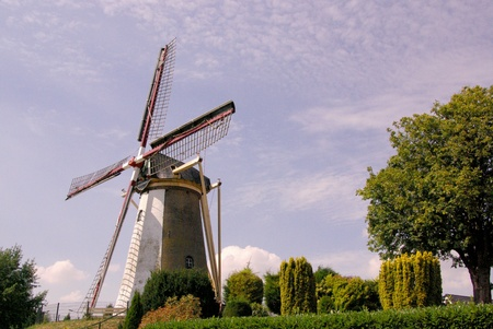A historic corn windmill in the Netherlands