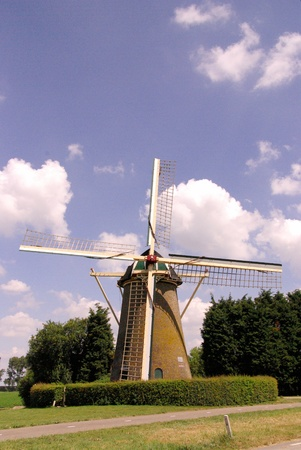 flakkee: The corn mill of  Den Bommel in the Netherlands Stock Photo