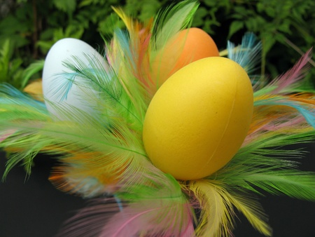 An easter decoration with colorful eggs photo