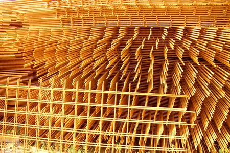 reinforcing bar: Reinforced steel on a building site Stock Photo