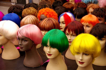 Colorful wigs on dummies photo