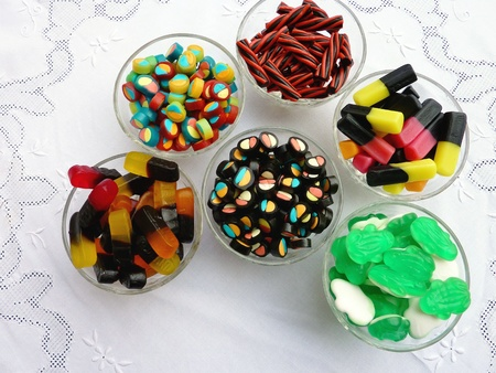 laxative: An assortment of liquorice candies Stock Photo
