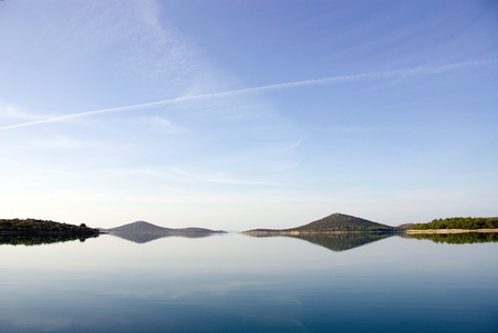 The early morning light in the Croatian archipelago in the Adriatic sea photo