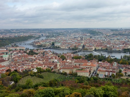 central chamber: View at Prague in the Czech Republic from the Petrin tower Stock Photo