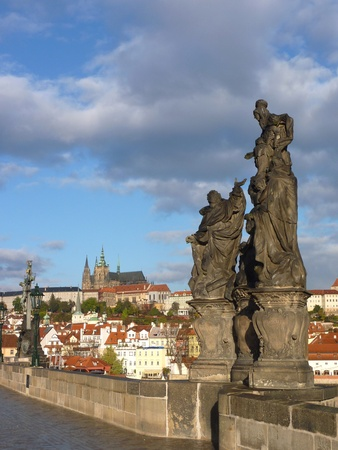Statue at the Charles bridge in Prague in the Czech Republic photo