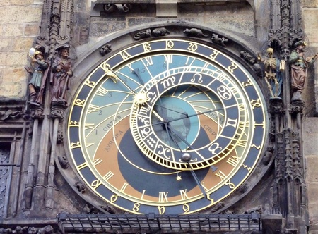 The monumental clock of the town hall in Prague in the Czech republic photo
