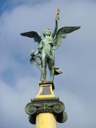 Sculpture on a bridge over the Vltava river in Prague in the Czech republic photo