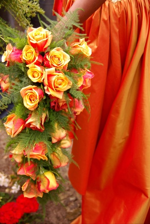 A wedding bouquet with colorful roses photo