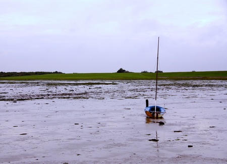 The mud of the wetlands of Schiermonnikoog with a sailing boat photo