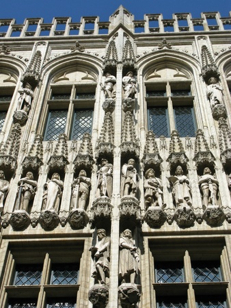 allegoric: The city hall of Brussels with statues of nobles, saints and allegoric figures