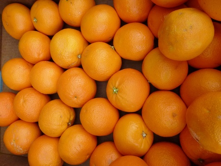 Oranges at the greengrocer on the market place Stock Photo - 12957625