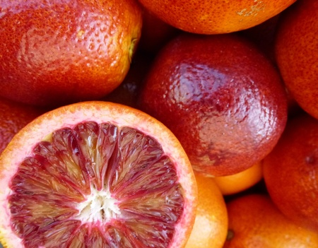 Blood oranges at the greengrocer photo