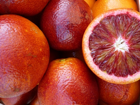 Blood oranges at the greengrocer