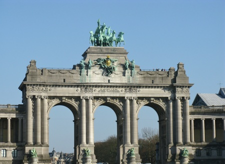parc: The triumphal arch in the park of the filthiest anniversary in Brussels in Belgium Stock Photo