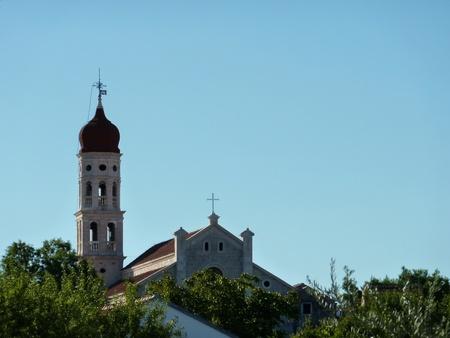 betina: The campanile of the church of Betina at the island Murter in Croatia