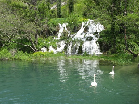 The waterfalls at Roski slap inte Krka national park in Croatia photo