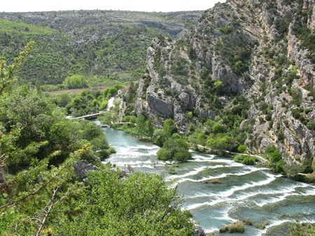 Rapids in the Krka river in the Krka national park in Croatia photo