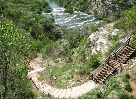 Rapids in the Krka River above the Roski Slap waterfalls in Croatia photo