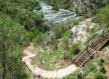 Rapids in the Krka River above the Roski Slap waterfalls in Croatia Stock Photo - 13304944