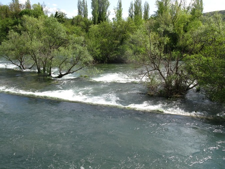 Rapids in the Krka river in Croatia in spring photo