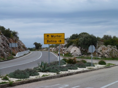 murter: Direction arrows to the villages Murter and Betina on the island Murter in Croatia