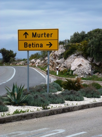 betina: Direction arrows to the villages Murter and Betina on the island Murter in Croatia