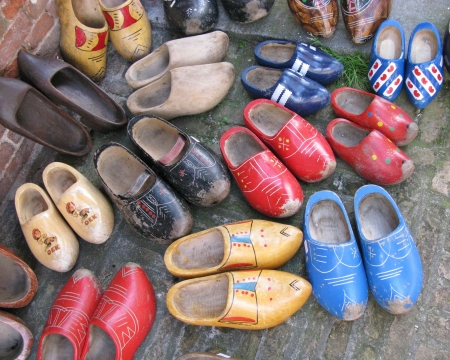Ancient colorful wooden shoes photo