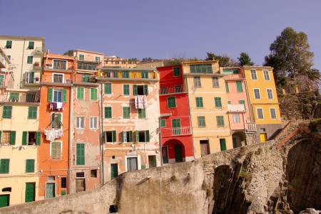 Riomaggiore in the national park Cinque Terre in Italy photo