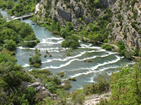 Rapids in the Krka River above the Roski Slap waterfalls in Croatia photo