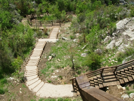 A wooden staircase to an observation point in the Krka national park in Croatia photo