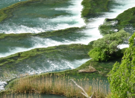 Rapids in the Krka River above the Roski Slap waterfalls in Croatia Stock Photo - 14502564
