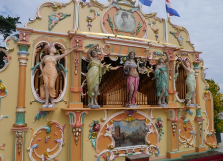 ornamentation: A decorated street organ  Stock Photo