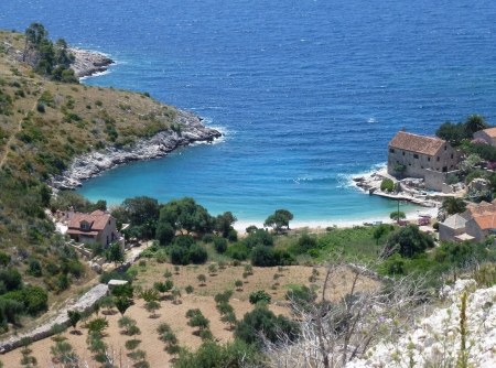 The Dubovica bay village and valley at the south coast of the island Hvar in Croatia Stock Photo