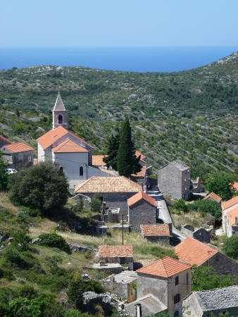 View at the village Velo Grablje in the hills of the island Hvar of Croatia Stock Photo