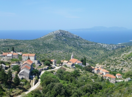 View at the village Velo Grablje in the hills of the island Hvar of Croatia photo
