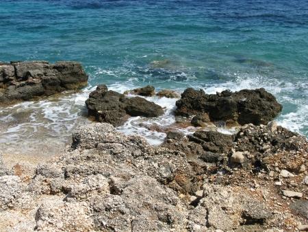 lopsided: Erosion of the coast of the island Hvar in the Adriatic sea in Croatia