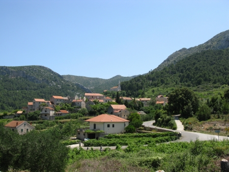 Village in the mountains of the island Hvar in Croatia photo