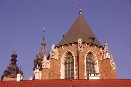 The  back of the Saint Barbara church in Krakow in Poland photo