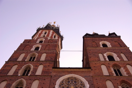 The St Mary church at the market in Krakow in Poland photo