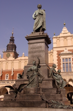 mickiewicz: The statue of Adam Mickiewicz in front of the cloth hall in Krakow in Poland