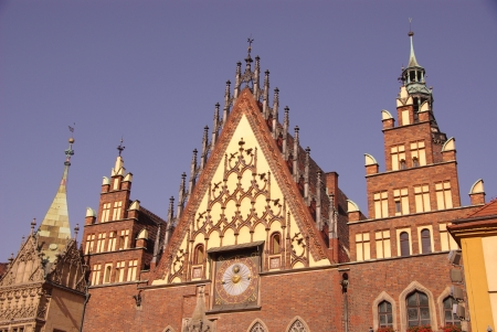 The historic city hall on the rynek  market  in Wroclaw in Poland