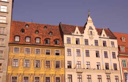 ccedil: Historic houses on the market  rynek  of Wroclaw in Poland Editorial